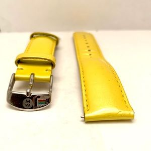 Michele Yellow Leather Watch Band 18 mm